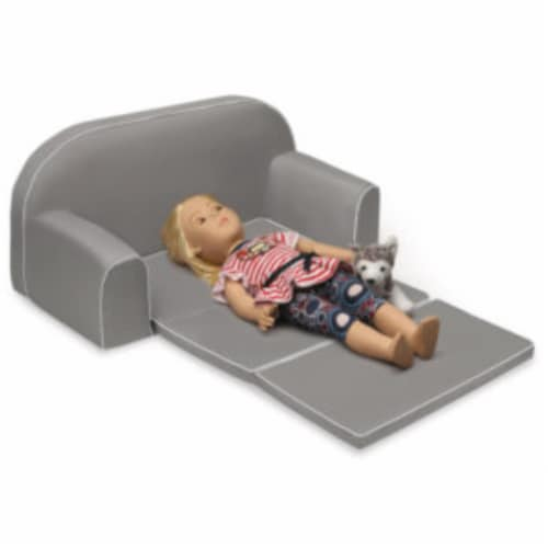 Upholstered Doll Sofa with Foldout Bed and Storage Pockets - Executive Gray Perspective: left