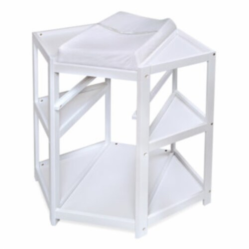 Diaper Corner Changing Table w/Hamper and Basket - White Perspective: left