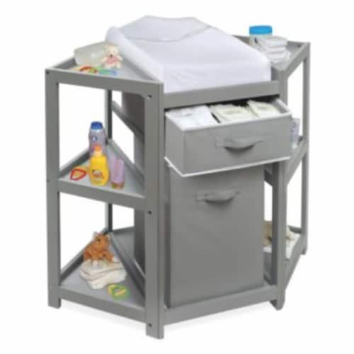 Diaper Corner Baby Changing Table with Hamper and Basket - Gray Perspective: left