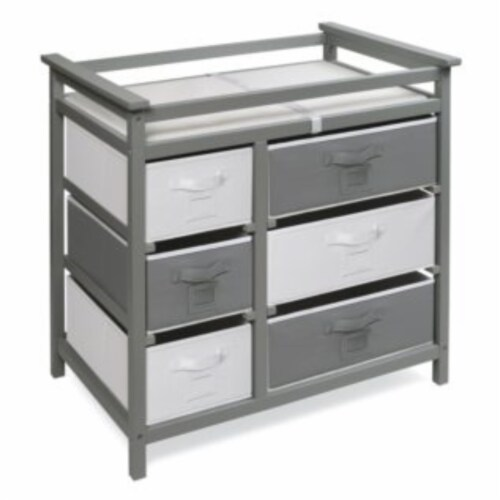 Modern Baby Changing Table with Six Baskets - Gray Perspective: left