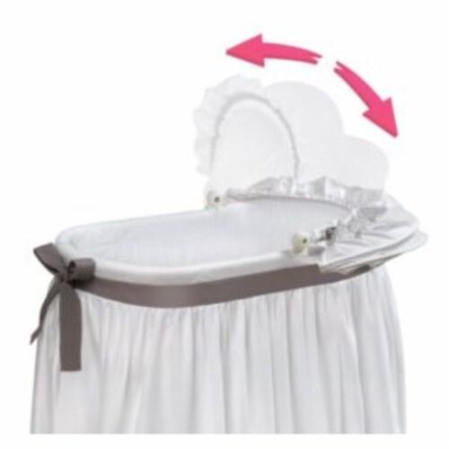 Wishes Oval Bassinet - Full Length Skirt - White/Gray Perspective: left