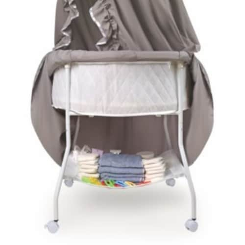 Empress Round Baby Bassinet with Canopy - Gray/White Perspective: left