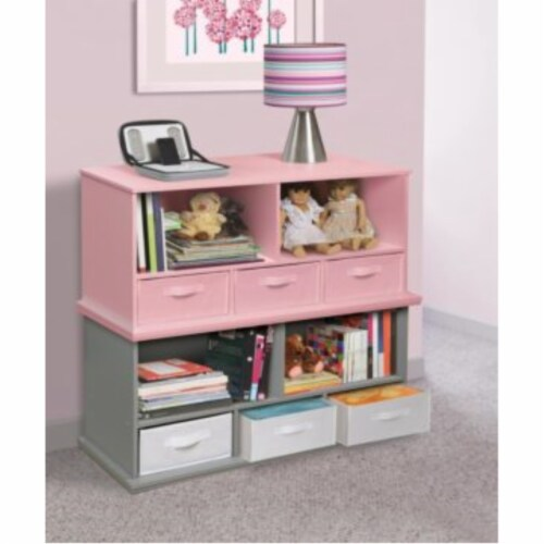 Shelf Storage Cubby with Three Baskets - Gray Perspective: left