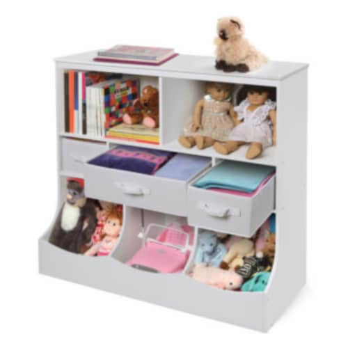 Combo Bin Storage Unit w/3 Baskets - White Perspective: left