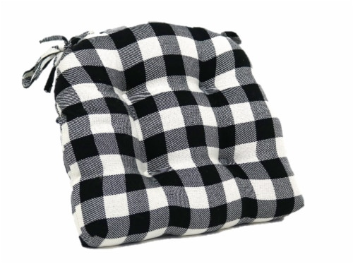 Brentwood Gingham Twill Buffalo Check Chair Pad - Black/White Perspective: left