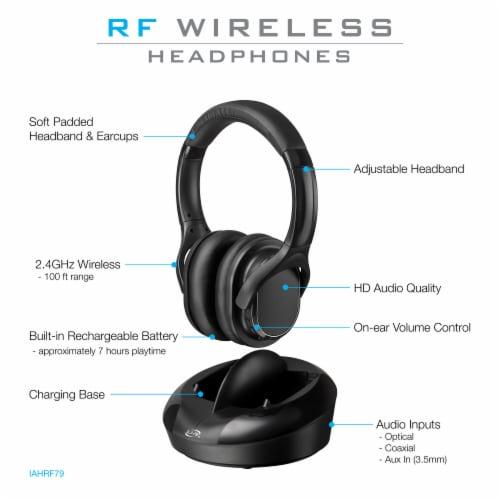 iLive RF Wireless Over-Ear Headphones - Black Perspective: left