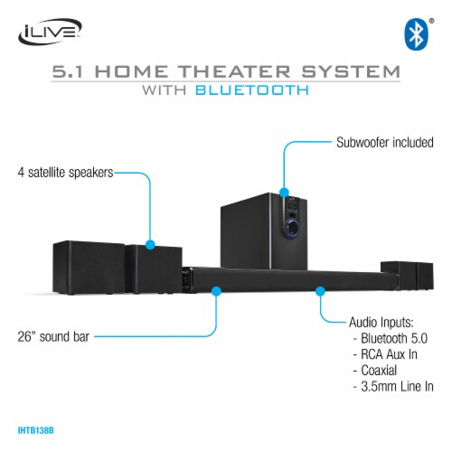 iLive 5.1 Home Theater Surround Speaker System Perspective: left
