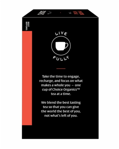 Choice Organic English Breakfast Black Tea Bags Perspective: left