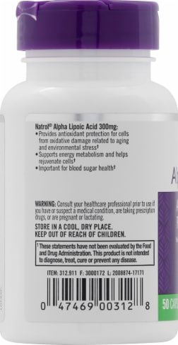 Natrol Alpha Lipoic Acid 300mg Antioxidant Protection Perspective: left