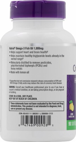 Natrol 1000mg Omega-3 Fish Oil Heart Health Supplement Perspective: left