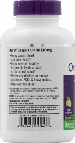 Natrol Omega-3 Fish Oil 1000mg Heart Health Supplement Perspective: left