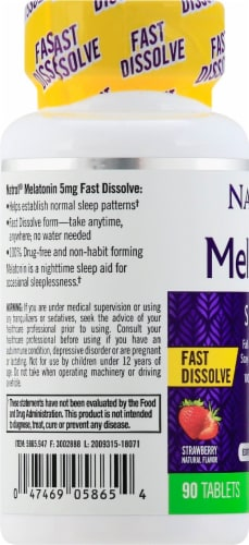 Natrol Melatonin Strawberry Flavored Extra Strength Sleep Tablets 5mg Perspective: left