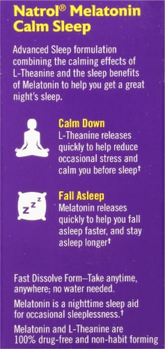Natrol Advanced Melatonin Calm Sleep Strawberry Fast Dissolve Tablets Perspective: left