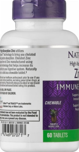 Natrol High Absorption Immune Health Pineapple Zinc Chewable Tablets Perspective: left