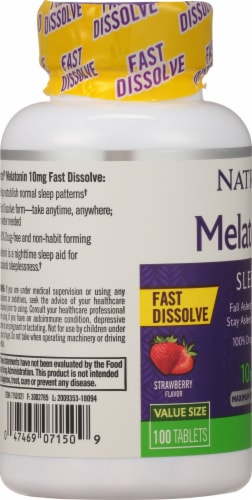 Natrol Melatonin 10mg Fast Dissolve Strawberry Tablets Perspective: left