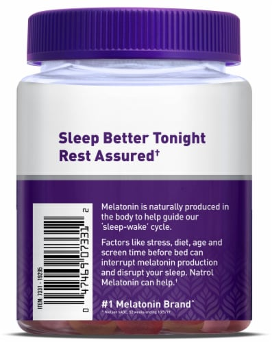 Natrol Strawberry Flavored Melatonin Gummies 10mg Perspective: left
