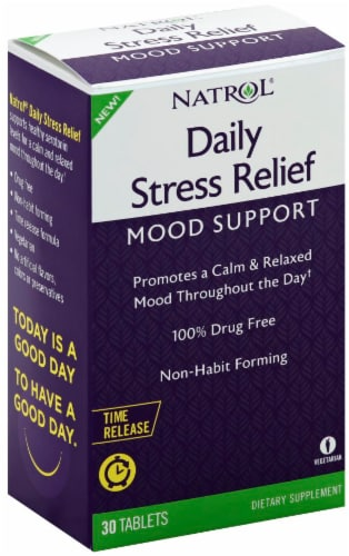 Natrol Daily Stress Relief Mood Support Tablets 30 Count Perspective: left