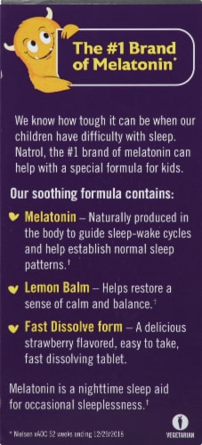 Natrol Kids Fast Dissolve Strawberry Melatonin Tablets 40 Count Perspective: left