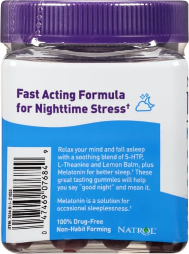Natrol Relaxia Night Calm Gummies Perspective: left