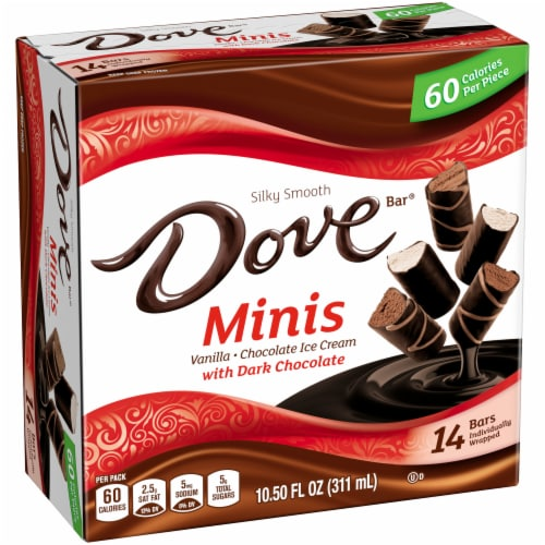 DOVE Minis Ice Cream Bars Variety Mix Vanilla and Chocolate Ice Cream with Dark Chocolate Perspective: left