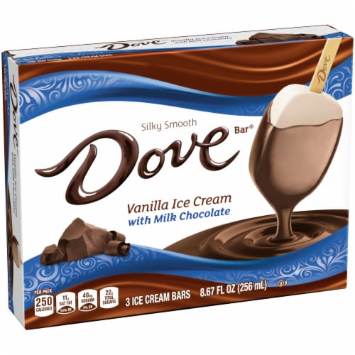 Dove Chocolate Vanilla Ice Cream with Milk Chocolate Bars Perspective: left