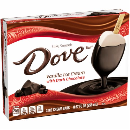 Dove Chocolate Vanilla Ice Cream with Dark Chocolate Bars Perspective: left