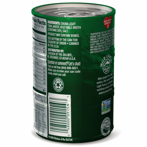Chicken of the Sea Chunk Light Tuna In Water Mini Cans Perspective: left