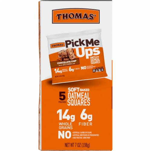Thomas' Pick Me Ups Chocolate Chip Soft Baked Oatmeal Squares Perspective: left