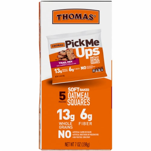 Thomas' Pick Me Ups Trail Mix Soft Baked Oatmeal Squares Perspective: left