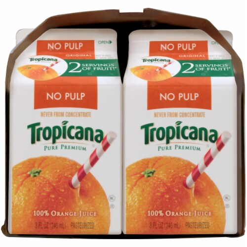 Tropicana Orange Juice No Pulp 6 Pack Perspective: left