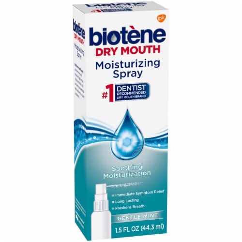 Biotene Dry Mouth Gentle Mint Moisturizing Mouth Spray Perspective: left