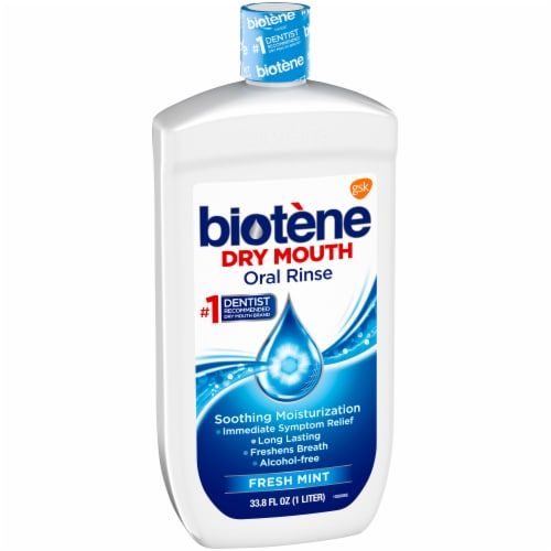 Biotene Dry Mouth Fresh Mint Oral Rinse Perspective: left
