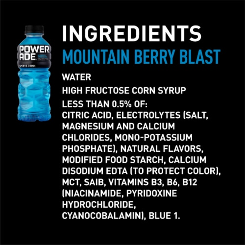 Powerade Mountain Berry Blast Electrolyte Enhanced Sports Drink 8 Bottles Perspective: left