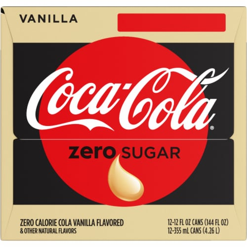 Coca-Cola Vanilla Zero Sugar Soda Perspective: left