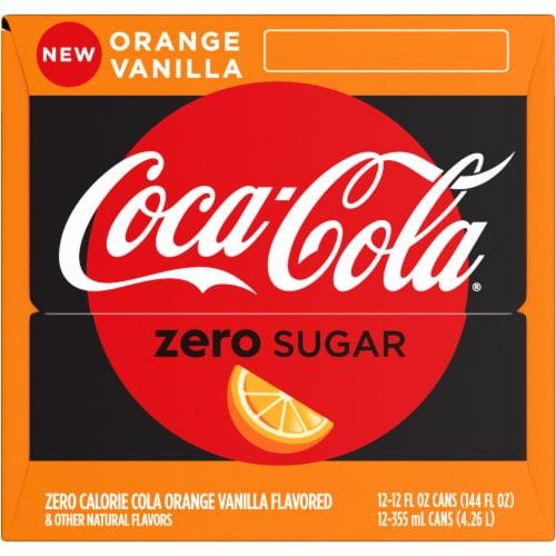 Coca-Cola Zero Sugar Orange Vanilla Cola Soda Perspective: left