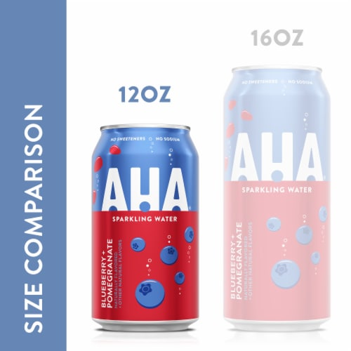 AHA Blueberry & Pomegranate Sparkling Water Perspective: left