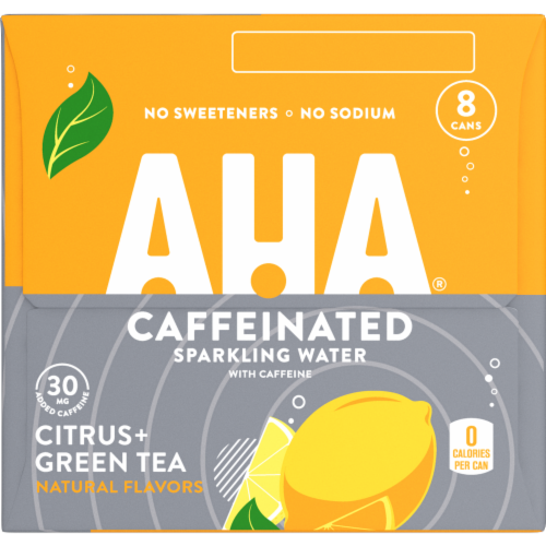 AHA Citrus + Green Tea Caffeine Sparkling Water Perspective: left