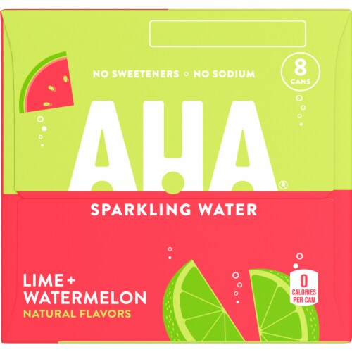 AHA Lime + Watermelon Sparkling Water Perspective: left