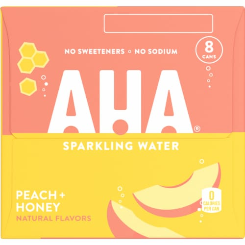 AHA Peach + Honey Sparkling Water Perspective: left