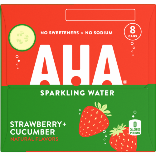 AHA Strawberry + Cucumber Sparkling Water Perspective: left