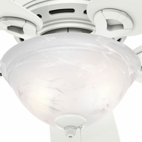 Hunter Fan Company Conroy 42 Inch Low Profile Ceiling Fan with Light, Snow White Perspective: left
