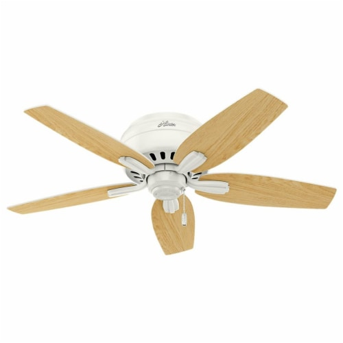 """Hunter Newsome 42"""" Low Profile Ceiling Fan w/ LED Light and Pull Chain, White Perspective: left"""