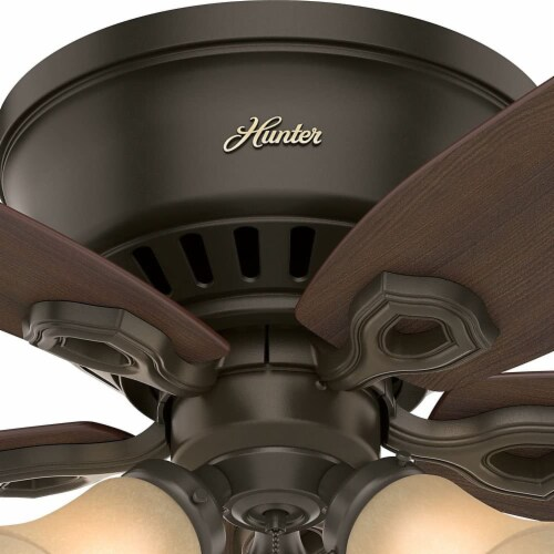 """Hunter Builder 42"""" Low Profile Ceiling Fan w/ LED Lights and Pull Chain, Bronze Perspective: left"""