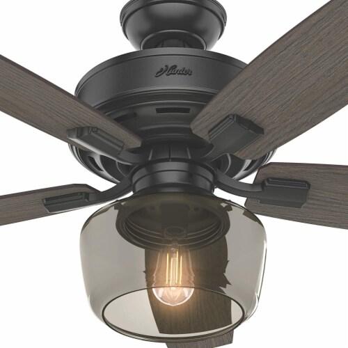 "Hunter Bennett 52"" Low Profile Ceiling Fan w/ 3 LED Light Kit and Remote, Black Perspective: left"