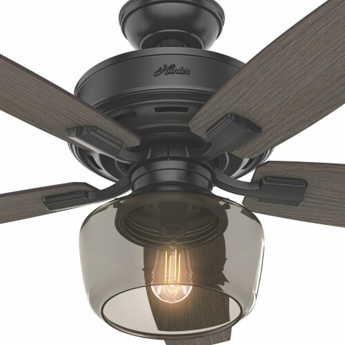 """Hunter Bennett 52"""" Ceiling Fan with LED Light and Remote Control, Matte Black Perspective: left"""