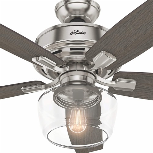 """Hunter Bennett 52"""" Quiet Ceiling Fan with LED Light and Remote Control, Silver Perspective: left"""