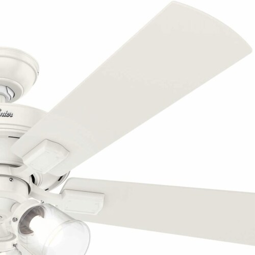 """Hunter Crestfield 52"""" Quiet Ceiling Fan with 3 LED Lights and Pull Chain, White Perspective: left"""