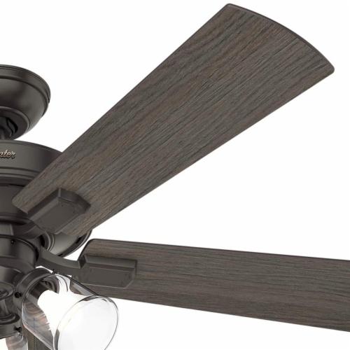 Hunter Crestfield 52 Inch Indoor Ceiling Fan with LED Lights, Noble Bronze Perspective: left