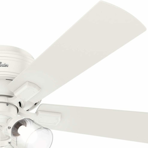 """Hunter Crestfield 52"""" Low Profile Ceiling Fan w/ LED Light and Pull Chain, White Perspective: left"""