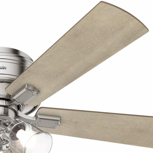 "Hunter Crestfield 52"" Quiet Indoor Ceiling Fan w/ LED Lights , Brushed Nickel Perspective: left"